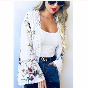 Off White Trim Floral Kimono - One Size Fits All